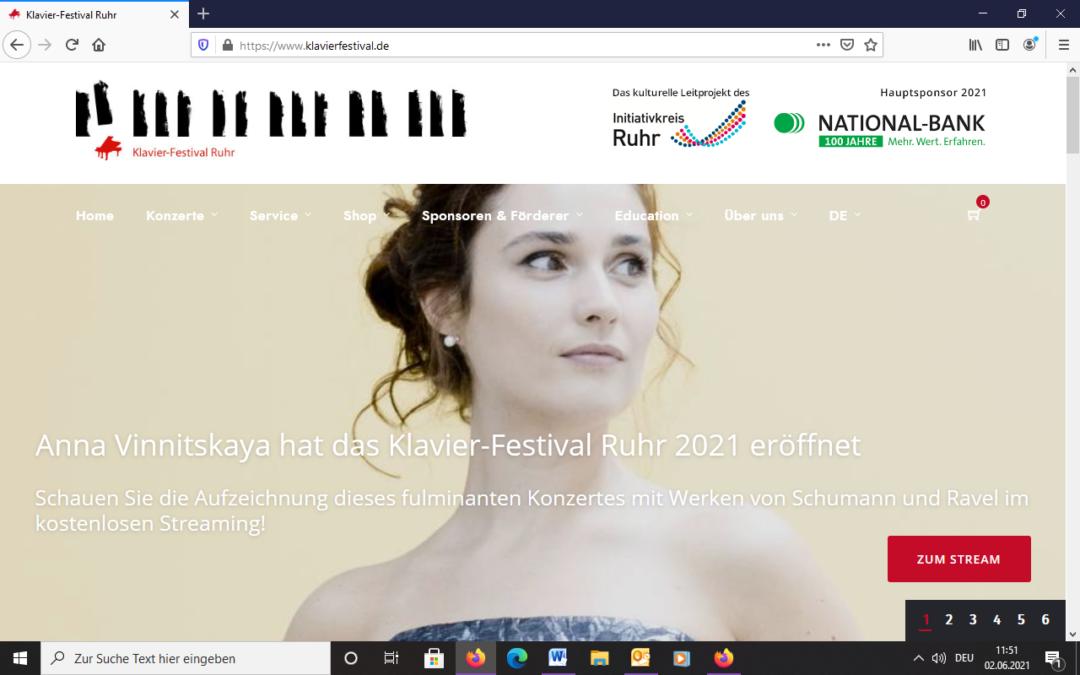 Klavier-Festival Ruhr 2021 ist gestartet!